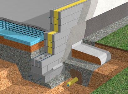 Maanvarainen alapohja: anturaperustus, perusmuuri kevytsoraharkoista.